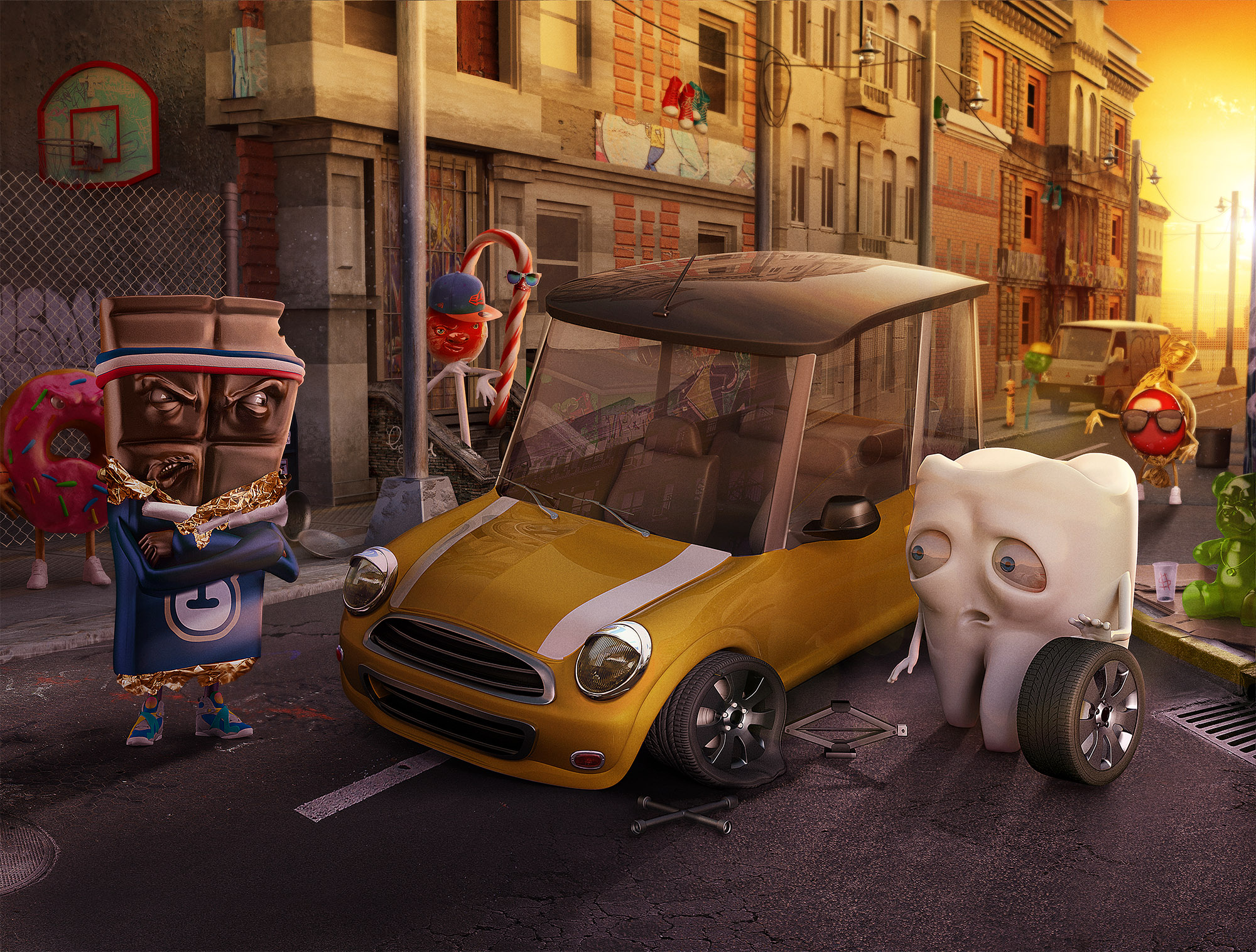 Run-Flat-Bridgestone-Tooth-vs-Candies-Lamano-Studio-Illustration-Post-Production-CGI-Animation-Handcraft-Photography